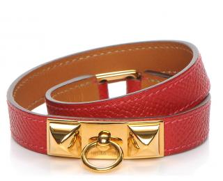 Hermes Red Epsom Leather Rivale Double Tour Bracelet