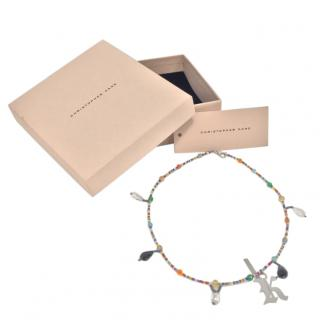 Christopher Kane Glass Pearl Beaded Charm Necklace