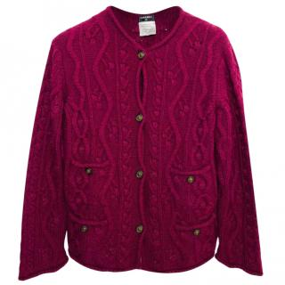 Chanel Burgundy Cable Knit Cardigan