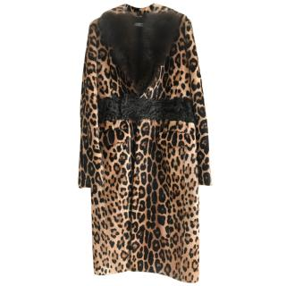 Givenchy Leopard Print Astrakahn & Fur Trim Coat