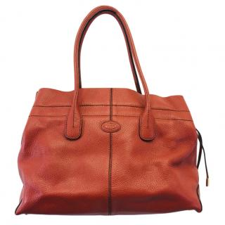 Tod's Leather Overstitch Detail Tote Bag