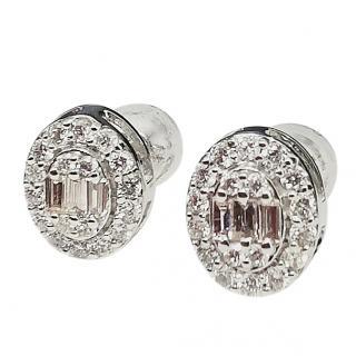 Bespoke Baguette & Halo Cut Diamond Cluster Earrings