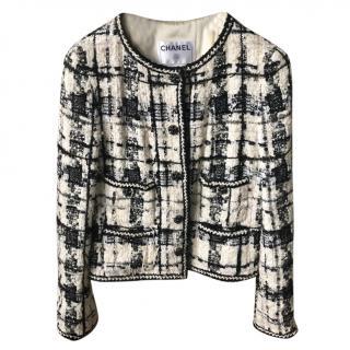 Chanel Black & White Embellished Gripoix Tweed Jacket