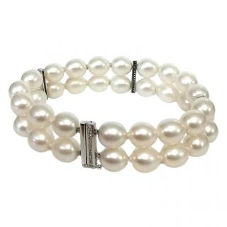 Fustains oval freshwater double row pearl with diamond clasp bracelet