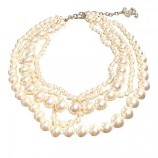 Chanel faux pearl multi strand necklace