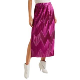 Givenchy Pleated Zig Zag pink satin midi skirt