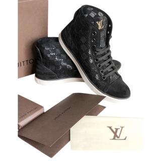 Louis Vuitton Sequin Embellished Punch High Top Black Sneakers