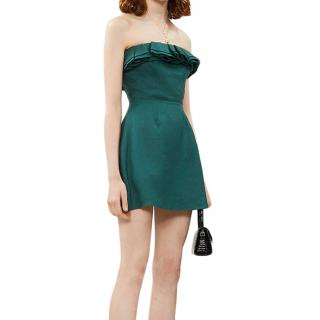 Reformation Green Linen Ruffled Strapless Dress