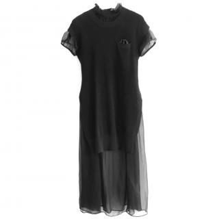 Sacai Black Chiffon Layered Dress