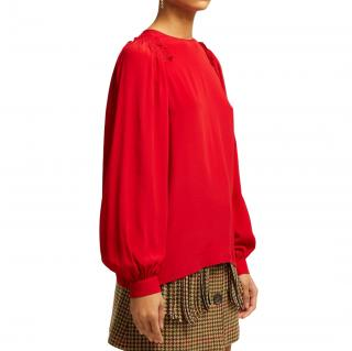 No.21 Red Ruffle Trim Silk Top