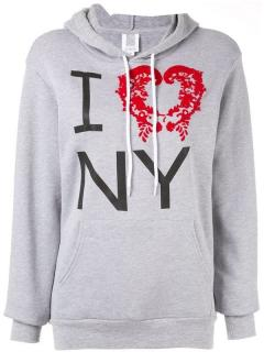 Rosie Assoulin I Love NY Slogan Jersey Cotton Hoodie