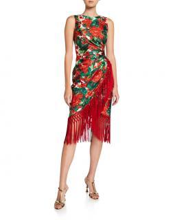 Dolce & Gabbana Floral Print Draped Wrap Style Fringed Dress
