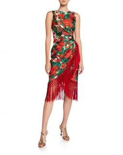 Dolce & Gabbana Floral Print Draped Wrap Style Fringed Dress