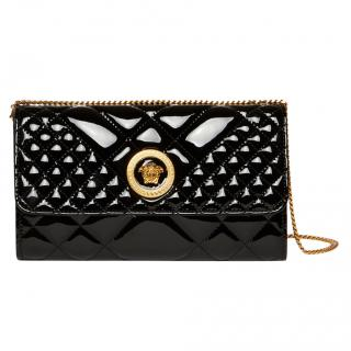 Versace Patent Leather Quilted Icon Evening Bag