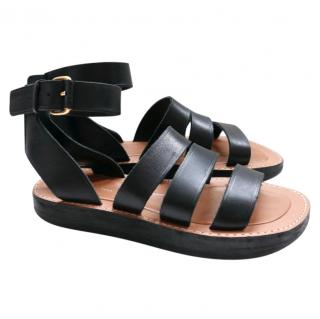 Celine by Phoebe Philo Black Leather Hiker Sandals