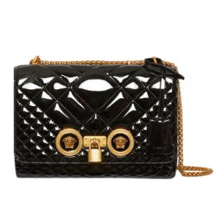 Versace Patent Leather Quilted Icon Shoulder Bag In Black