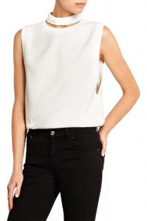 Tom Ford Ivory Cut-Out Sleeveless Crepe Top