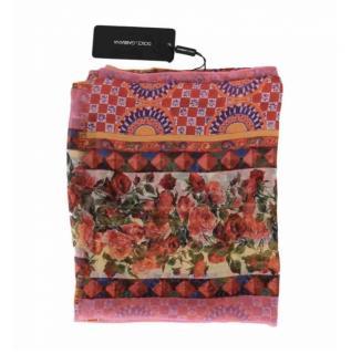 Dolce & Gabbana Caretto Print Silk Wrap Scarf