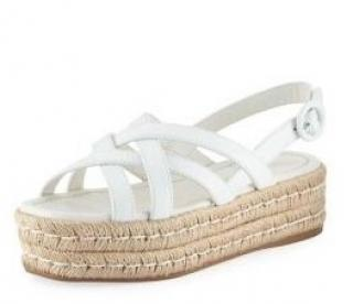 Prada white strappy crossover Leather espadrille platforms