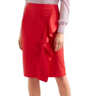 J Crew Red Ruffled Polin Skirt