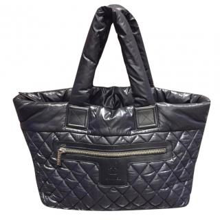 Chanel black quilted fabric shoulder tote