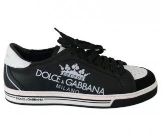 Dolce & Gabbana Black & White Crown Logo Sneakers