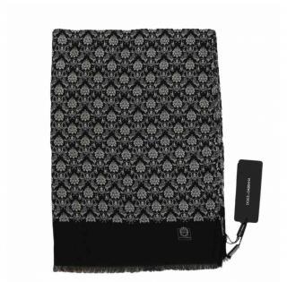Dolce & Gabbana Men's Black Cashmere Printed Scarf