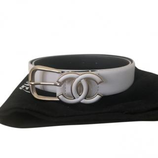 Chanel Spring 2017 White Leather Slim Belt