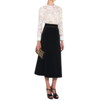 Saint Laurent Velvet Black Midi Skirt