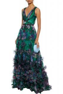 Marchesa Notte Emerald Floral Print Gown