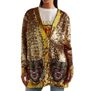 Gucci reversible appliqued sequined satin cardigan