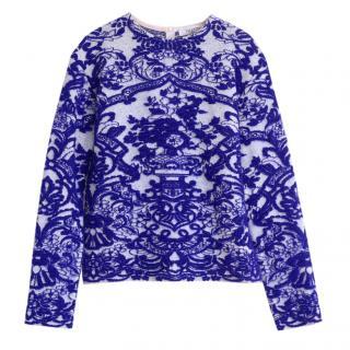 Valentino Blue & White Wool & Mohair Blend Jumper