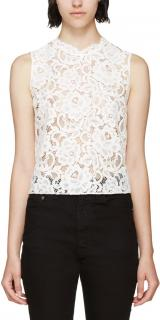 Saint Laurent White Lace Sleeveless Top