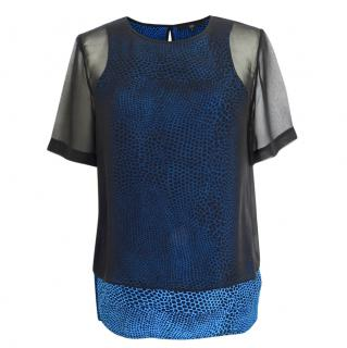 Tibi silk blue and black snake print top