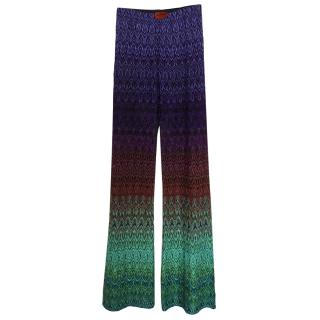 Missoni stretch multicoloured lurex wide leg flared pants