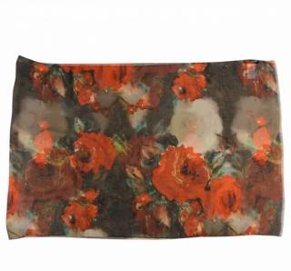 Dolce & Gabbana Rose Print Sheer Silk Wrap Scarf