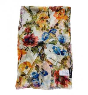 Dolce & Gabbana Jungle Flower Print Silk Wrap Scarf