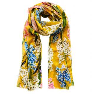 Dolce & Gabbana Yellow Floral Print Silk Wrap Scarf