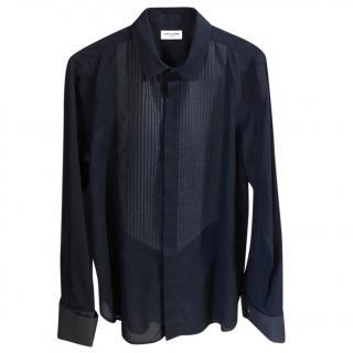 Saint Laurent Black Sheer Tuxedo Blouse
