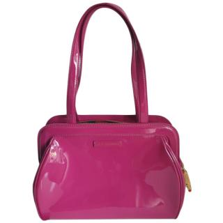 Lulu Guinness Raspberry Pink Patent Leather Shoulder Bag