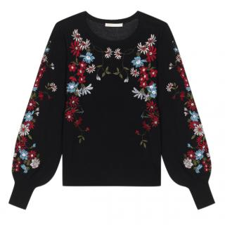 Maje Fine-knit embroidered sweater