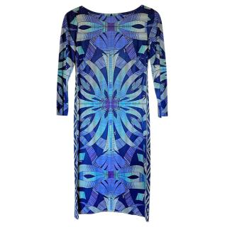 Emilio Pucci Blue Printed Shift Dress