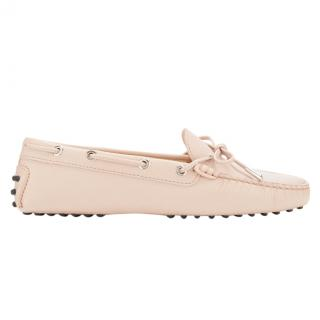 Tod's Powder Pink Leather Heaven Laccetto Driving Loafers Shoe