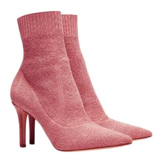 Gianvito Rossi Pink Fiona 85 Boucl� Stretch Fabric Ankle Booties