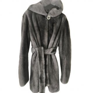 Kopenhagan Fur Grey Mink Fur Wrap Coat