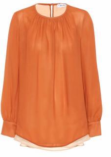Max Mara Burnt Orange Gettata Silk Blouse