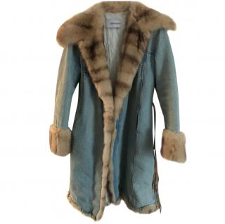 Ermanno Scervino denim and mink wrap coat