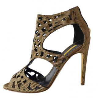 Rupert Sanderson gold fabric cage sandals