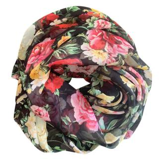 Dolce & Gabbana black floral peony rose print scarf/wrap
