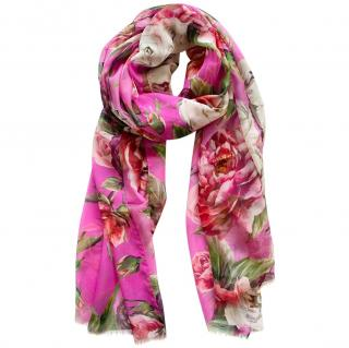Dolce & Gabbana ink peony and rose print scarf/wrap